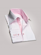 Chemise CINTRÉE pour homme, à rayures roses duo rose grand col