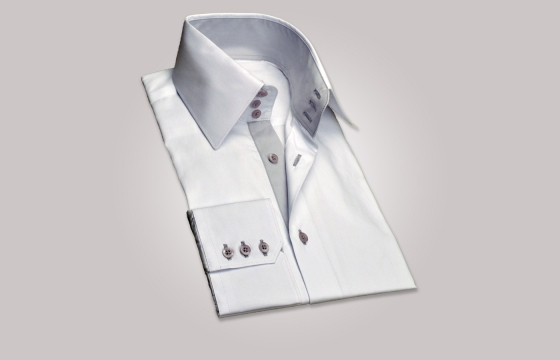 Chemise homme blanche duo gris clair grand col - Chemise CINTRÉE. Loading  zoom 43e5beae10cf