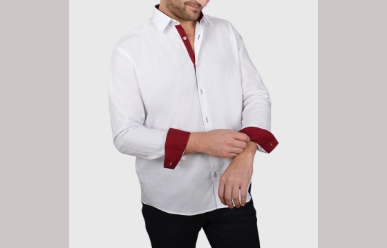 Chemise homme blanche trio bordeau & anthracite V4 - Chemise NON CINTRÉE - Chemise Homme - Ozoa Chemises
