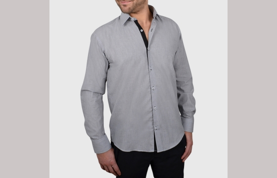 Chemise homme noire à rayures blanches duo noir V4 - Chemise NON CINTRÉE - Chemise Homme - Ozoa Chemises