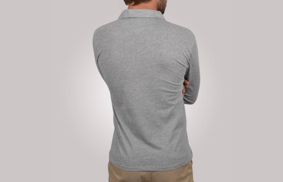 Polo homme Western gris - Polo manches longues