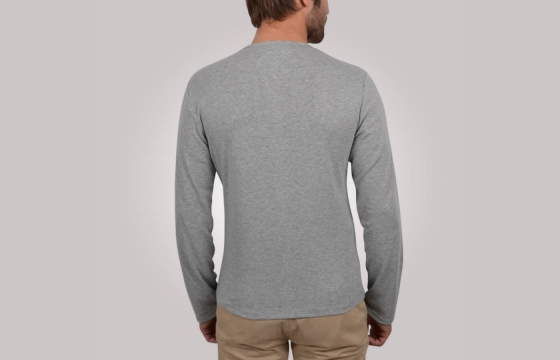 T-shirt homme V-Neck Button Tee gris - Tee shirt manches longues