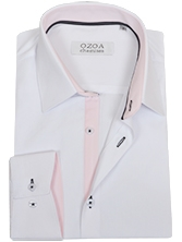 Chemise CINTREE pour homme, blanche trio rose & anthracite