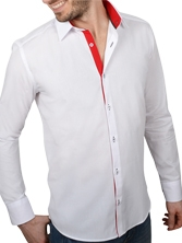 Chemise CINTREE pour homme, blanche trio rouge & anthracite