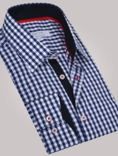 Chemise homme à grand vichy marine trio marine & rouge - Chemise CINTREE