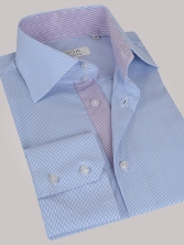 Chemise homme � rayures bleues int�rieur � rayures mauves - Chemise NON CINTR�E