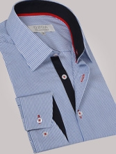 Chemise homme à rayures bleues trio bleu marine & rouge - Chemise CINTREE