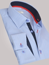 Chemise homme � rayures bleues trio marine & rouge - Chemise NON CINTR�E