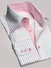 Chemise homme à rayures roses duo rose grand col - Chemise CINTRÉE
