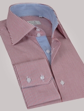 Chemise homme � rayures rouges int�rieur � rayures bleues - Chemise NON CINTR�E