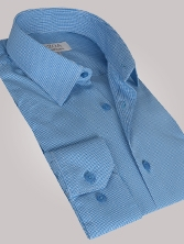 Chemise homme à vichy turquoise - Chemise CINTREE