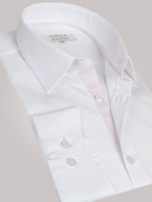 Chemise homme blanche duo � rayures roses - Chemise CINTR�E