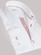 Chemise homme blanche duo � rayures rouges - Chemise NON CINTR�E