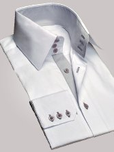 Chemise homme blanche duo gris clair grand col - Chemise CINTRÉE