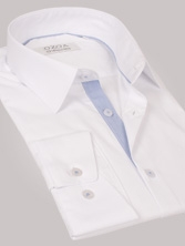 Chemise homme blanche duo rayures marines - Chemise NON CINTRÉE