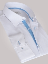 Chemise homme blanche duo vichy turquoise - Chemise CINTRÉE