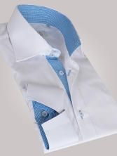 Chemise homme blanche int�rieur vichy turquoise poignets napolitains - Chemise NON CINTR�E