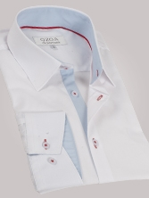Chemise homme blanche trio ciel & rouge - Chemise NON CINTREE