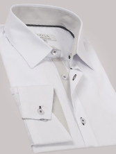 Chemise homme blanche trio gris clair & anthracite - Chemise NON CINTREE