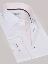 Chemise homme blanche trio rose & anthracite - Chemise NON CINTRÉE