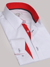 Chemise homme blanche trio rouge & anthracite - Chemise NON CINTRÉE