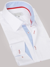 Chemise homme blanche trio vichy ciel & rouge - Chemise CINTREE