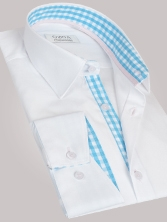 Chemise homme blanche trio vichy turquoise & rose - Chemise NON CINTRÉE