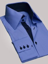 Chemise homme bleue duo marine grand col - Chemise CINTRÉE