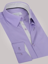 Chemise homme mauve trio gris clair & anthracite - Chemise CINTREE