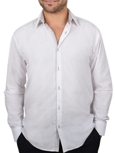 Chemise NON CINTREE pour homme, blanche trio gris clair & anthracite