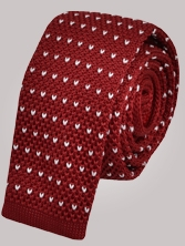 Cravate en tricot rouge à picots blancs - Cravate homme