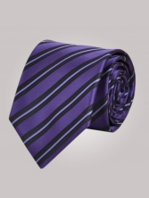 Cravate violette à rayures noires - Cravate homme