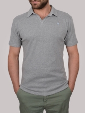 Polo homme ButtonLess gris clair - Polo manches courtes
