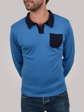 Polo homme Differing bleu et marine - Polo manches longues