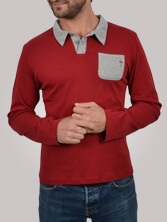 Polo homme Differing rouge et gris - Polo manches longues