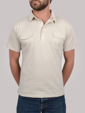 Polo homme Double Pockets beige - Polo manches courtes