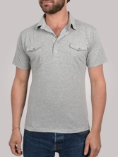 Polo homme Double Pockets gris clair - Polo manches courtes
