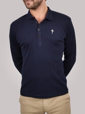 Polo homme Fancy Collar marine - Polo manches longues