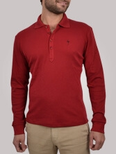 Polo homme Fancy Collar rouge - Polo manches longues