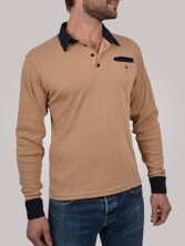 Polo homme Piping Pocket beige et marine - Polo manches longues