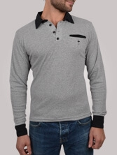Polo homme Piping Pocket gris et noir - Polo manches longues
