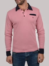 Polo homme Piping Pocket rose et marine - Polo manches longues