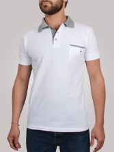 Polo homme Pocket Chest blanc et gris - Polo manches courtes