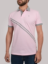 Polo homme RayClub rose et gris - Polo manches courtes