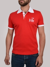 Polo homme Shorty Shirt rouge et blanc - Polo manches courtes