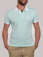 Polo homme Shorty Shirt vert clair et blanc - Polo manches courtes
