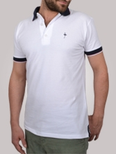 Polo homme South Bay blanc et marine - Polo manches courtes