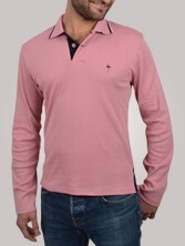 Polo homme Venice ML rose et marine - Polo manches longues
