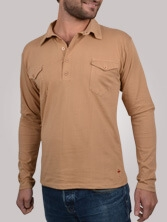 Polo homme Western beige - Polo manches longues