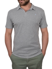 Polo manches courtes ButtonLess gris clair